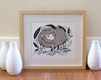 Sheep Print - Instant Download, Printable Art, Nursery Art, Home Decor, Lamb, Illustration