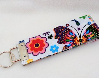 Butterflies Design Wristlet Key Fob Lanyard Keychain Butterfly Key Ring Dog Lover Gift Gift for Mum Jogger Gift Teacher Gift