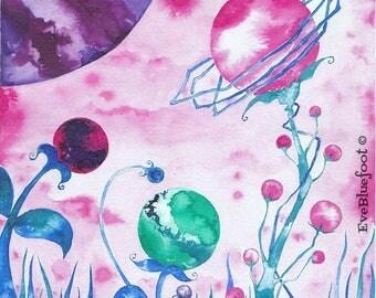Sci-Fi Art, Planets Illustration, Fine Art Print, Surreal World, Watercolor Flower Illustration, Fantasy Planet, India Ink Painting