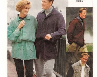 """A His 'n Hers Loose-Fit, Unlined Jacket w/Length, Drawstring & Hood Variations Pattern: Unisex Sizes XS-S-M, Chest/Bust 30""""-40"""" • Vogue 8547"""
