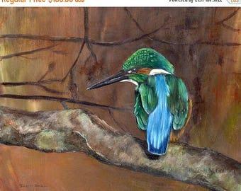 SALE Bird Art Painting Wildlife Kingfisher SFA  - Original hand painted acrylic bird painting by Australian Artist Janet M Graham