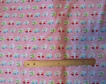 Pink Riley Blake Glamper-Licious Mini Campers Toss Cotton Fabric by the Half Yard