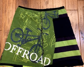 Upcycled tshirt skirt, bicycle, athletic, upcycled clothing, eco clothing, wearable art, altered wearable, recycled repurposed, Size Large
