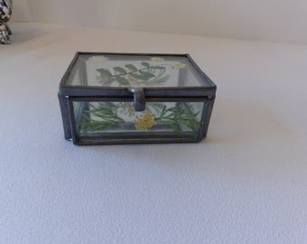 Vintage Glass Trinket Box with Dried Flowers