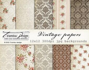 ON SALE Scrapbook Vintage Papers and Digital Paper Pack, sku-13