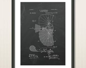 Poster Art Print, Vintage Flying Machine Patent Drawing from 1895, Patent Art, Wall Art