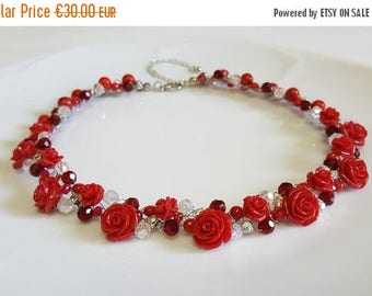 ON SALE Red Rose Necklace,Crystals Bridal Necklace,Red Statement Rose Necklace,Wedding Flower Necklace,Coral Crystal Necklace by CyShell