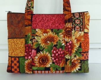 Rust Tan Green Burgundy Sunflower Print Quilted Purse