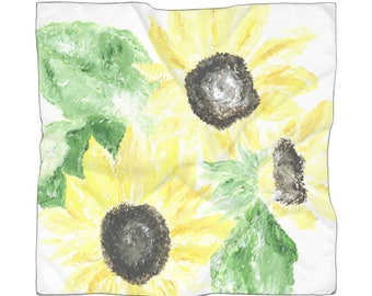 Sunflower Scarf, floral scarf, flower scarf, yellow scarf, green scarf, sunflowers scarf, sunflower gift, sunflower painting