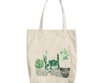 Plant Tote Bag, cactus tote bag, fiddle leaf fig, plant lover gift, cactus gift, snake plant, leaf tote bag, succulent bag