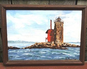Acrylic Painting Whaleback Lighthouse Portsmouth NH Painting on Board New Hampshire Coast