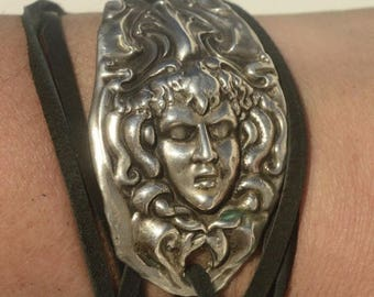 ON SALE 50% OFF Medusa Solid Sterling Silver 925 Leather Tie Wrap Cuff Bracelet Repoussé Repurposed Antique Art Nouveau Spoon Cuff Yoga Woma
