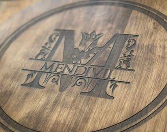 lazy susan custom engraved turn table solid birch lazy susan wedding