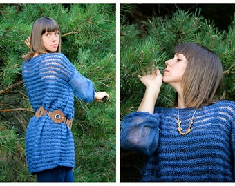 Warm indigo - oversized hand knitted wool sweater from kid mohair, silk and merino yarn - fall collection - OOAK,boho/ethno - ready to ship!
