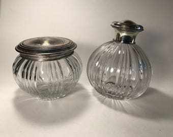 Vintage Vanity Decanter Perfume Jar Alpadur Silver Lids Cut Glass Crystal