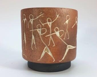 Primitive Pottery Vase Planter Vintage