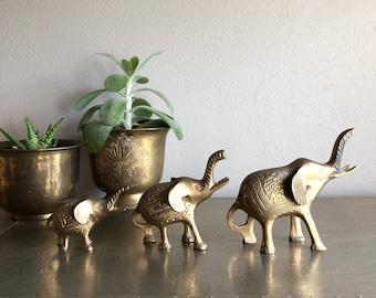 vintage brass elephants family set of 3 boho decor