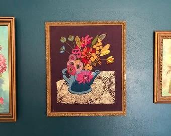 vintage large frame crewel floral lace purple teal