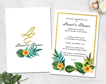 Tropical Wedding Invitation, Wedding Invitation Printable, Invitation Set, Wedding Invitation Rustic