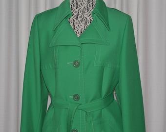Vintage  Women's Coat Long Jacket Pure Wool Green 1970s