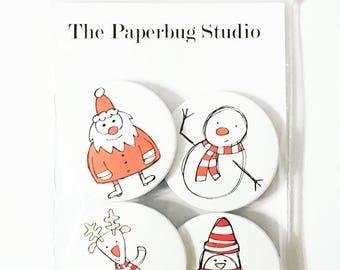 Christmas Pin Badge, Christmas Badge, Santa Badges, Pin Badge Set, Stocking Filler, Christmas Eve Box, Secret Santa, Snowman Pin Badge,
