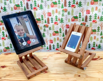 iPad Stand, Tablet Holder, Rustic Wood, Adjustable, iPhone Stand, Wooden iPad Stand, Christmas Gift Idea For Teacher, Kitchen iPod Holder