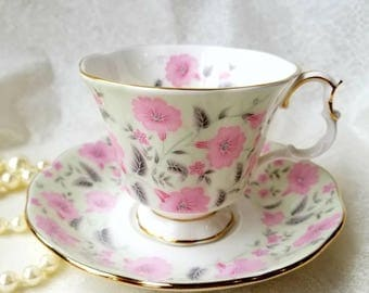 ROYAL ALBERT Coral Charm Tea Cup and Saucer/ Pale mint green with pink flowers Made in England / Vintage Tea