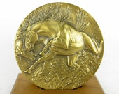 Vintage 1989 Bradbury Bronze Medallion / Horse / Connecticut CT Mint / Calendar Coin / Collectible Paperweight / Oversized Coin Mint