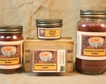 Cinnanut Columbian Coffee Scented Candle, Cinnanut Columbian Coffee Scented Wax Tarts, 26 oz, 12 oz, 4 oz Jar Candles or 3.5 Clam Shell