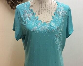 Vibrant aqua coloured embellished T-shirt