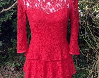 Gorgeous red lace tiered dress