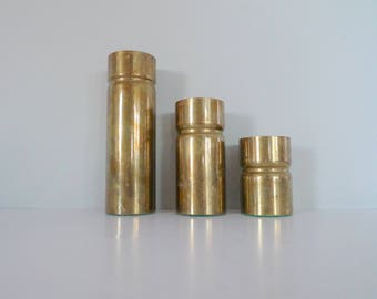 Vintage Brass Tea Candle Holders - Danish Mid Century Modern brass cylindrical candle holders set of three