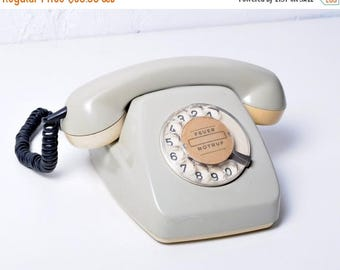 "ON SALE Rotary Phone ""Siemens"", Working telephone ,Rotary dial Phone, Soviet Phone ,white Phone, Vintage Phone, telephone 70s"