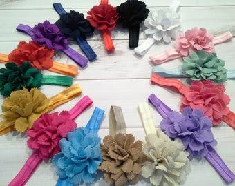 Fabric flower headband, baby headband, flower headband, baby headbands, bundle, baby shower, girls headband, childrens accessories,