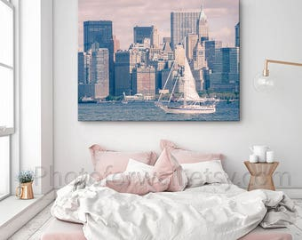 Luxury New York wall decor, New York photography, Boat skyline in Large Canvas art, pink decor, New York bedroom decor/Teen room decor