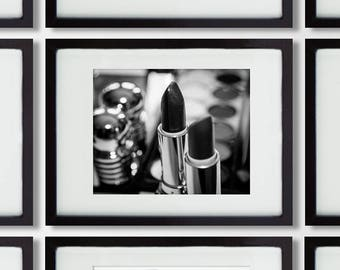 Makeup Chanel lipstick black and white photography, Bathroom decor, makeup decor, makeup print/home decor print/Shabby Chic Bathroom Art