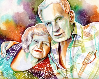 WIDOWER GIFT IDEAS, gift for widowed father, gift for widow grandfather, gift for grieving father, portrait of grandparents, custom painting