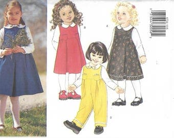 Butterick 6724 Size 1-2-3-4 Toddler Jumper, Jumpsuit & Blouse Sewing Pattern 2000 Uncut