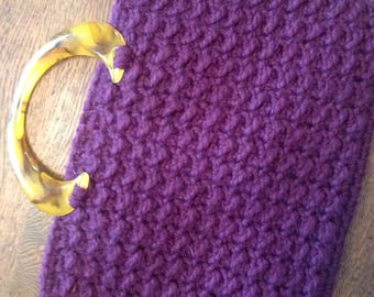 Purple Crochet Textured Bag