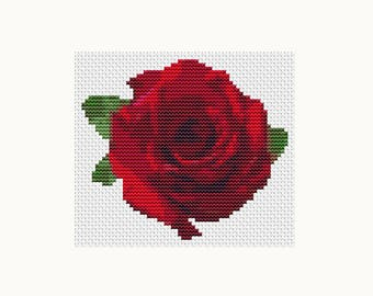 Cross Stitch Kit Flower Series: Red Rose, Floral Cross Stitch, Embroidery Kit, Needlework DIY Kit (TAS123)