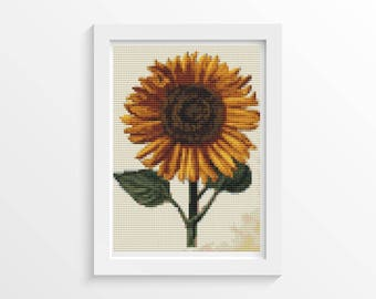 Floral Cross Stitch Chart, Sunflower Cross Stitch Chart, Sunflower MINI Cross Stitch Pattern PDF, Art Cross Stitch, Daniel Froesch (TAS135)