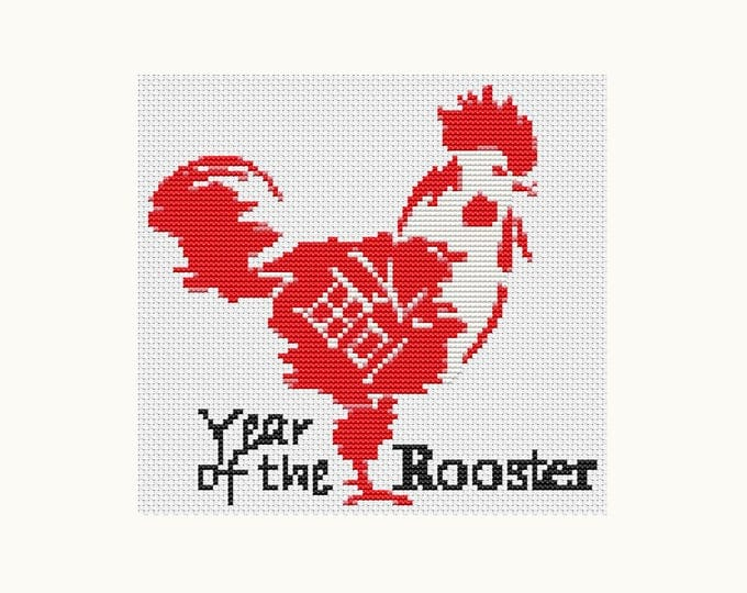 Year of the Rooster, Chinese Zodiac Cross Stitch, Art Cross Stitch (TAS109)