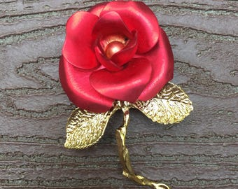 Vintage Signed Doann Red Rose Flower Pin Brooch