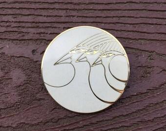 Vintage Jewelry Signed Laurel Burch Celestial Birds Enamel Pin Brooch