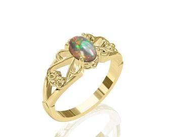 7x5mm Delightful Solitaire Australian Black Opal Ring in 14K or 18K Gold SKU: R2239