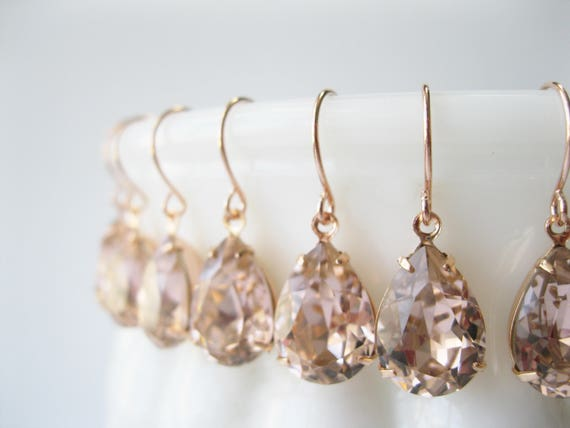 Set of 5 pairs Blush and Rose Gold Crystal Bridesmaid Earrings Teardrop Dangles Art Deco Vintage Style Blush Wedding Jewelry Choice of Metal