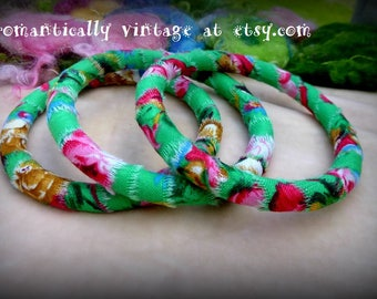 Bracelets, Little Girls, Set of 3, Floral, Garden, Summer, Handmade, Bangles, Accessories, Jewelry, Party Favors