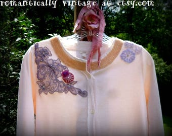 Upcycled, Cardigan, Top,Shirt, Womens, Romantic, Altered, Gift,  Victorian, Handmade, Country