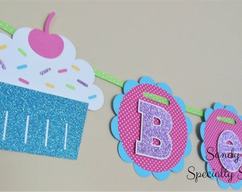 Cupcake and Sprinkles Birthday Name Banner- Hot Pink Dot, Aqua, Candy Pink, Yellow, Lime, Glitter Purple, Glitter Aqua