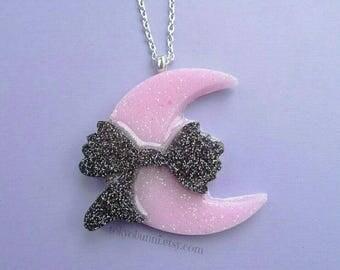 Black Glitter Bow Moon Necklace- Kawaii- Gothic- Pastel Goth- Gothic Lolita-JFashion- Harajuku- Fairy Kei- Creepy Cute-Punk